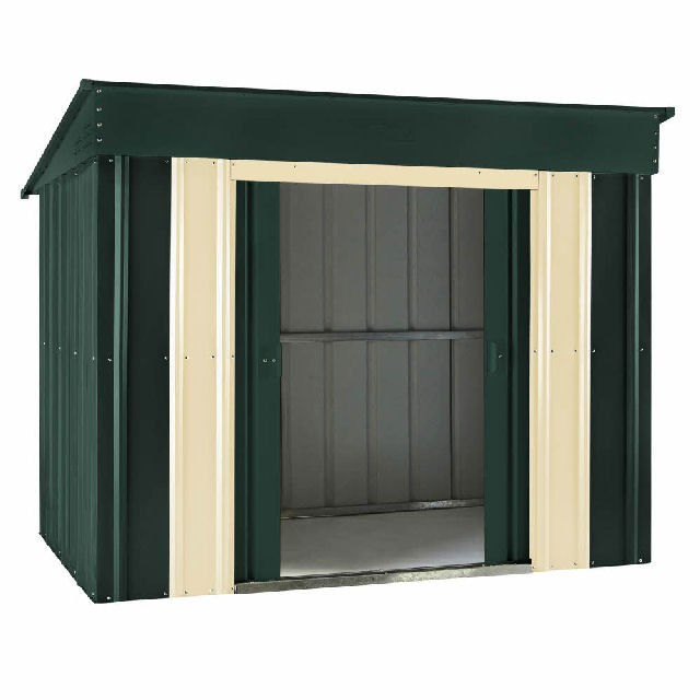 Lotus Metal Low Pent Shed 6ft X 4ft (Heritage Green)   Elbec Garden  Buildings