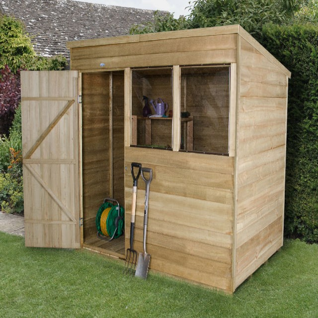 Forest Overlap Pressure Treated Pent Shed 5x7 Elbec