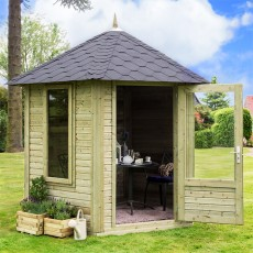 9 x 8 (2.75m x  2.39m) Forest Henley Hexagonal Summerhouse - Pressure Treated
