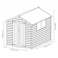 8x6 Mercia Shiplap Shed - Pressure Treated - dimensions