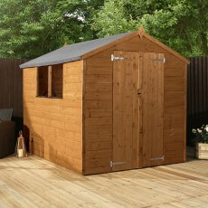 8x6 Mercia Shiplap Shed - Pressure Treated - with background and doors closed