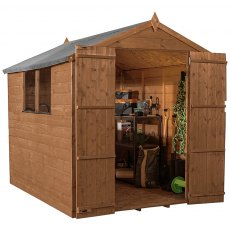 8x6 Mercia Shiplap Shed - Pressure Treated - without background and doors open