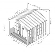 8 x 8 Mercia Premium Traditional T&G Summerhouse with Veranda - dimensions diagram