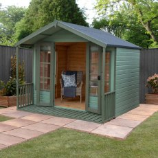 8 x 8 Mercia Premium Traditional T&G Summerhouse with Veranda - painted, doors open