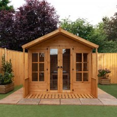 8 x 8 Mercia Premium Traditional T&G Summerhouse with Veranda - front on, unpainted