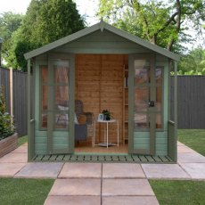 8 x 8 Mercia Premium Traditional T&G Summerhouse with Veranda - front on, painted