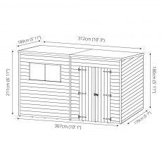 6 x 10 (1.79m x 3.12m) Mercia Shiplap Pent Shed with Single Door