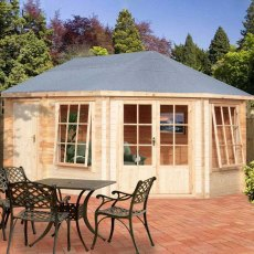 10 x 14 (2.99m x 4.19m) Shire Leygrove Log Cabin 28mm logs