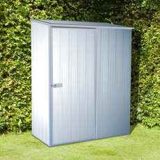 5 x 3 Mercia Absco Space Saver Pent Metal Shed in Titanium - in situ