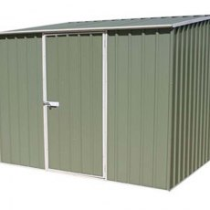 7 x 5 Mercia Abcso Space Saver Pent Metal Shed in Pale Eucalyptus - door closed