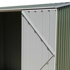 7 x 5 Mercia Abcso Space Saver Pent Metal Shed in Pale Eucalyptus - detail of door bracing