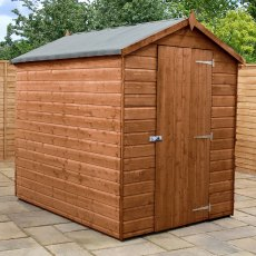 7x5  Mercia Premium Shiplap Shed - Pressure Treated - with background and door closed