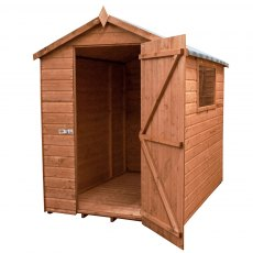 7x5  Mercia Premium Shiplap Shed - Pressure Treated - without background and door open
