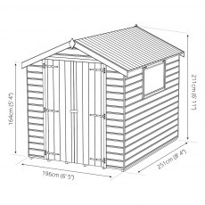 Mercia 8 x 6 (2.51m x 1.97m) Mercia Premium Shiplap Shed with Double Doors