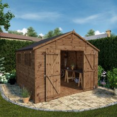 Mercia Premium Shiplap T&G Workshop - Pressure Treated - traditional apex layout with doors open