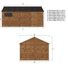 16x10  Mercia Premium Shiplap Workshop - Pressure Treated - with background and doors closed