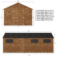 20x10 Mercia Premium Shiplap Workshop - Pressure Treated - dimensions