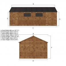 20x10 Mercia Premium Shiplap Workshop - Pressure Treated - with background and doors open distant