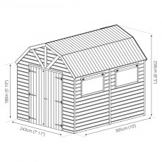 Mercia 10 x 8 (3.05m x 2.56m) Mercia Dutch Barn Shed