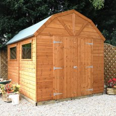 10 x 8 Mercia Dutch Barn Shed - Pressure Treated - with background and doors closed