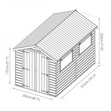 10x8 Mercia Premium Shiplap Shed with Double Doors - Pressure Treated - Dimensions