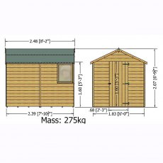 8x6 shire shiplap shed dimensions