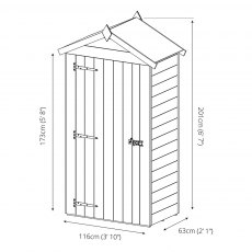 Mercia 2 x 4 (0.63 x 1.16m) Mercia Tongue and Groove Sentry Box Shed