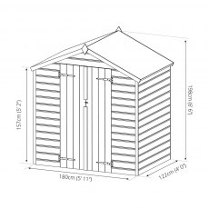 4x6 Mercia Shiplap Shed - Pressure Treated - Dimensions