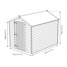 8 x 6 (2.40m x 1.90m) Mercia Overlap Windowless Shed - Diagram