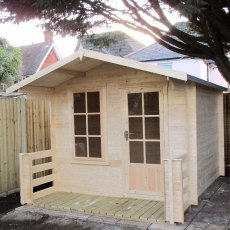 7G x 7 (2.09m x 2.09m) Shire Maulden Log Cabin (19mm Logs) - with verandah