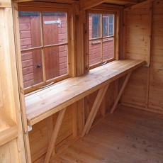Shire Bison Professional Apex Shed - detail of optional workbench