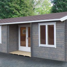 26 x 14 Shire Elveden Log Cabin - Anthracite Grey and optional plain windows