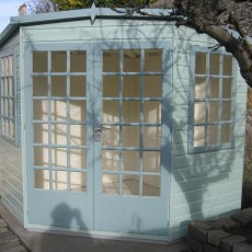 7 x 7 Shire Gold Windsor Corner Summerhouse - painted front view