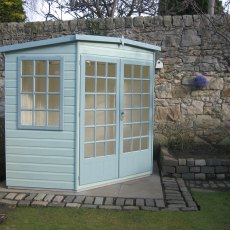 7 x 7 Shire Gold Windsor Corner Summerhouse - painted side view
