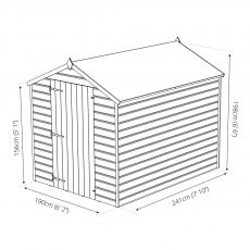 Mercia 8 x 6 (2.41m x 1.90m) Mercia Shiplap Apex Windowless Shed