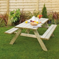 Grange Oblong Table with Foldable Seats
