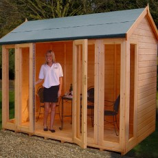 Shire Gold Blenheim Summerhouse - bi-fold doors open