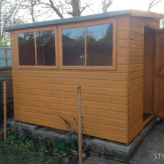8x6 Shire Norfolk Professional Pent Shed - angled position