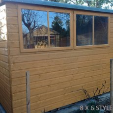 8x6 Shire Norfolk Professional Pent Shed - side view with 2 opening windows
