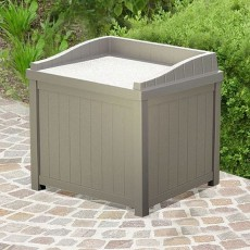 2 x 2 (0.59m x 0.50m) Suncast Plastic Small Deck Box with Seating (Taupe)