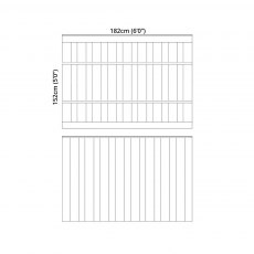 Mercia 5ft High (1524mm) Mercia Closeboard Vertical Hit and Miss Fence Panels - Pressure Treated
