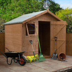 6x8 Mercia Premium Shiplap Shed - Pressure Treated - with background and door open with items