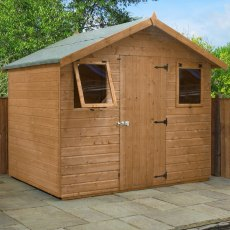 6x8 Mercia Premium Shiplap Shed - Pressure Treated - with background and door closed