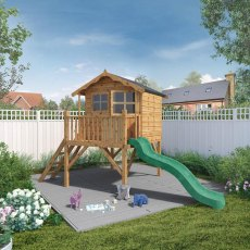 5 x 7 (1.50m  x  1.98m) Mercia Poppy Tower Playhouse with Slide