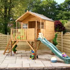 6 x 5 (1.80m x 1.70m) Mercia Honeysuckle Tower Playhouse and Slide