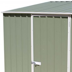 7 x 3 Mercia Absco Space Saver Pent Metal Shed in Pale Eucalyptus - detail of door