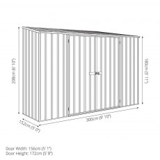 10 x 5 Mercia Abcso Space Saver Pent Metal Shed - Dimensions