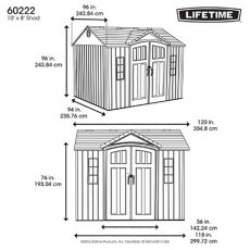 Lifetime 10 x 8 (2.95m x 2.34m) Lifetime Plastic Shed (with Single Entry)