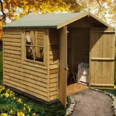 7 x 7 (1.98m x 2.05m) Shire Overlap Apex Garden Shed with Double Doors