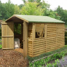 10 x 7 (2.97m x 2.05m) Shire Overlap Apex Garden Shed with Double Doors